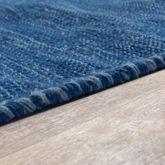 Handwebteppich Wohnzimmer Natur Webteppich Kelim Modern Baumwolle In Blau – Bild 3
