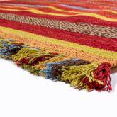 Handwebteppich Wohnzimmer Natur Webteppich Kelim Baumwolle Streifen Mehrfarbig – Bild 4