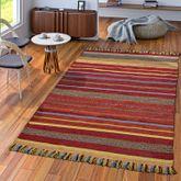 Handwebteppich Wohnzimmer Natur Webteppich Kelim Baumwolle Streifen Mehrfarbig – Bild 1