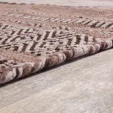 Handwebteppich Wohnzimmer Natur Webteppich Kelim Modern Baumwolle Streifen Beige – Bild 3