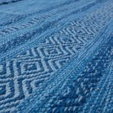 Handwebteppich Wohnzimmer Natur Webteppich Kelim Modern Baumwolle Streifen Blau – Bild 2
