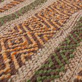 Handwebteppich Wohnzimmer Natur Webteppich Kelim Modern Baumwolle Streifen Grün – Bild 2