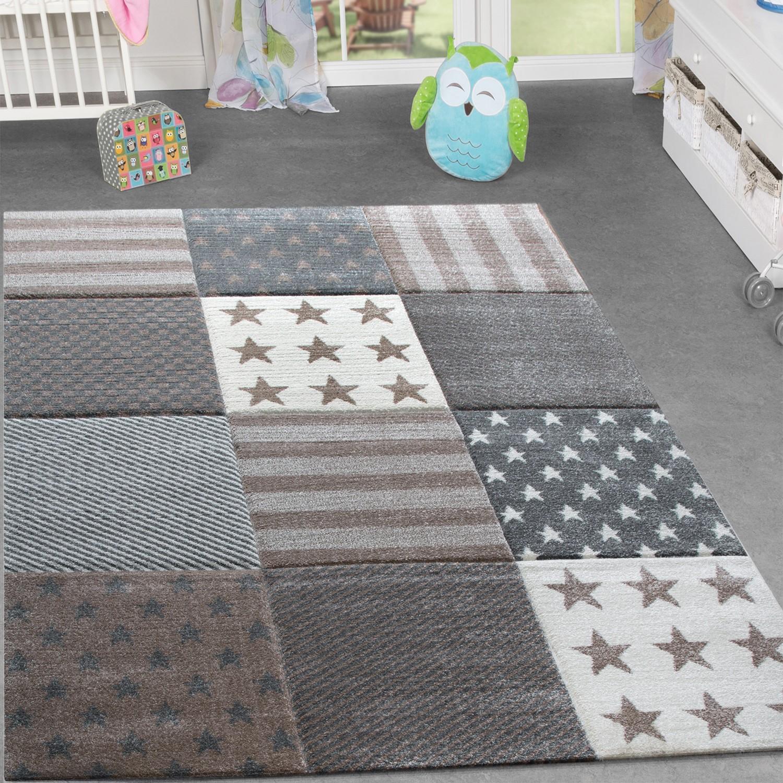 Details zu Kinderzimmer Teppich Stern Design Spielteppich Gemütlich Kinder  Beige Grau Creme