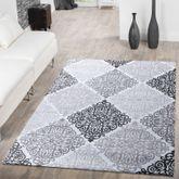 Teppich Modern Glitzergarn Vintage Mit Rokoko Muster In Hellgrau Grau Weiß – Bild 1