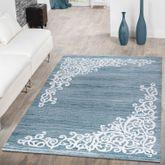 Teppich Modern Glitzergarn Vintage Blumenranken Verzierung In Türkis Weiß – Bild 1