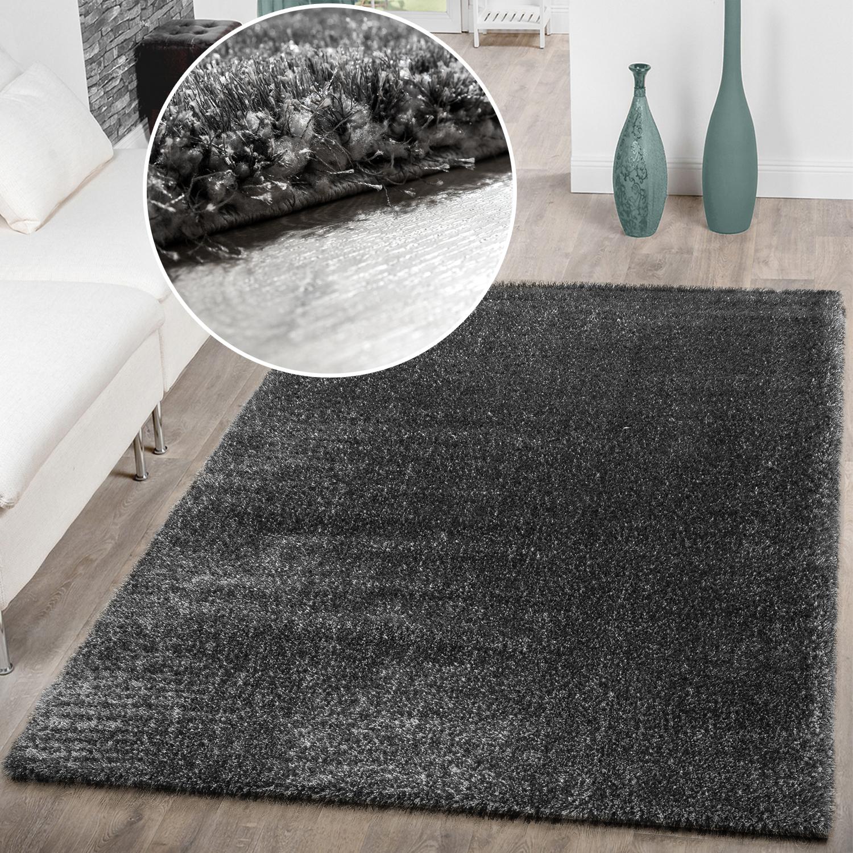Erstaunlich Teppich Für Wohnzimmer Ideen Von Hochflor Uni Grau