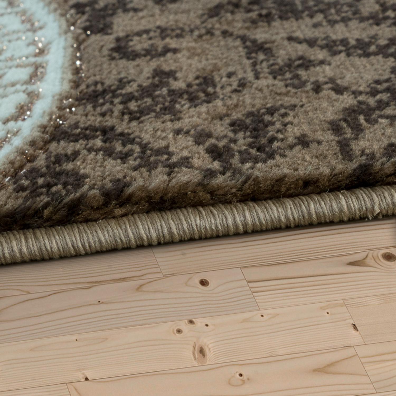teppich wohnzimmer glitzer garn modern wellen muster ornamente in beige creme moderne teppiche. Black Bedroom Furniture Sets. Home Design Ideas