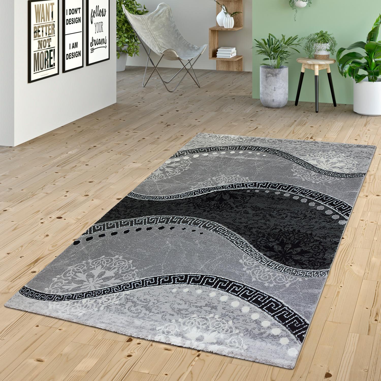 teppich wohnzimmer glitzer garn modern wellen muster ornamente in grau anthrazit moderne teppiche. Black Bedroom Furniture Sets. Home Design Ideas