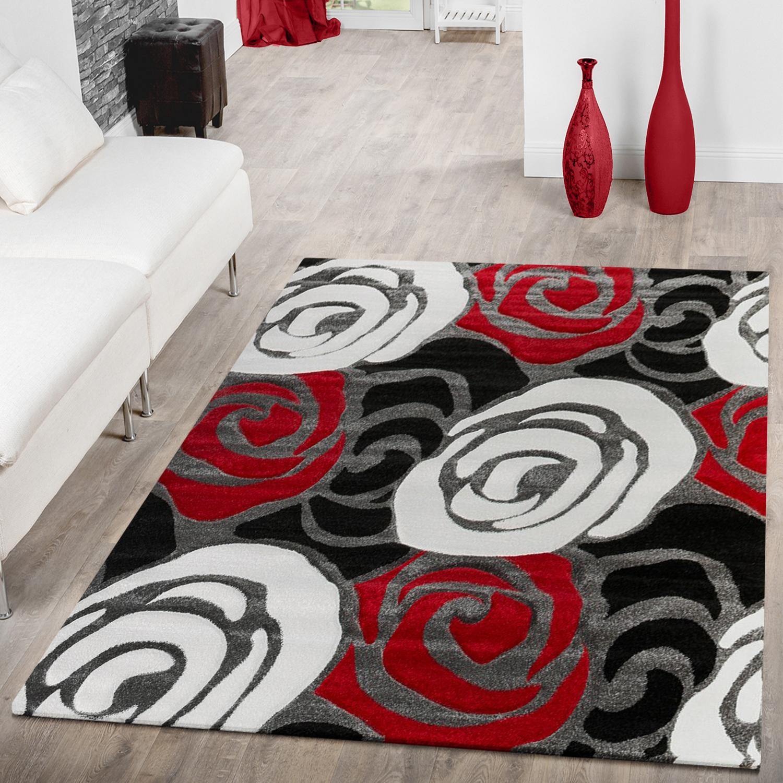 Designer Teppich Blumen Rosen Design Schwarz Rot AUSVERKAUF