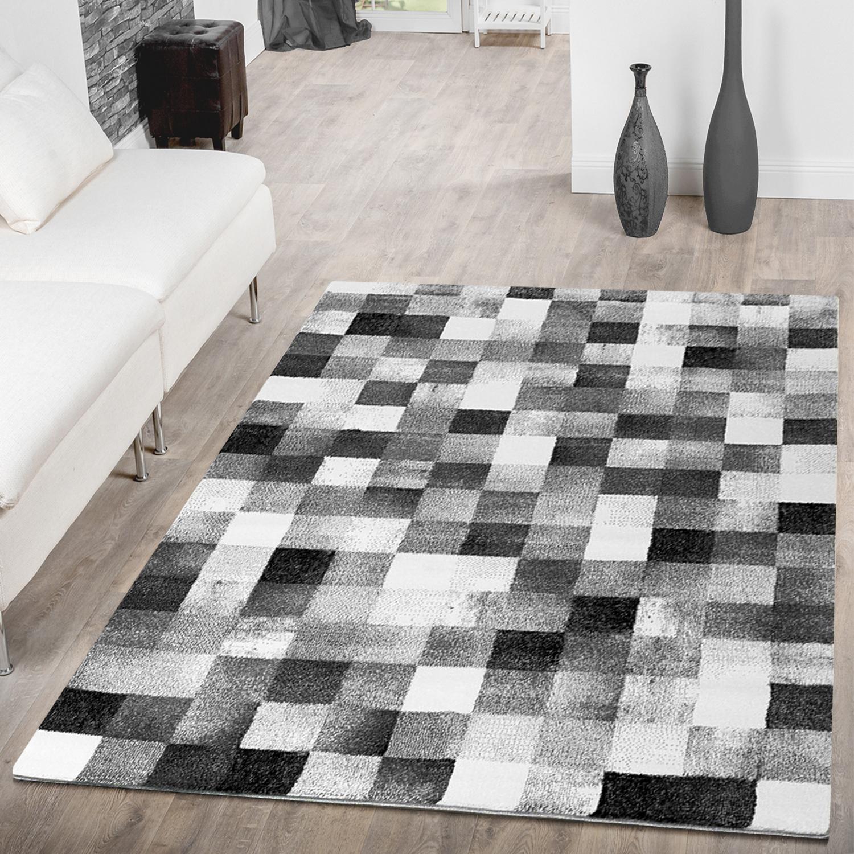 designer teppich wohnzimmer karo design optik grau anthrazit schwarz ausverkauf moderne teppiche. Black Bedroom Furniture Sets. Home Design Ideas