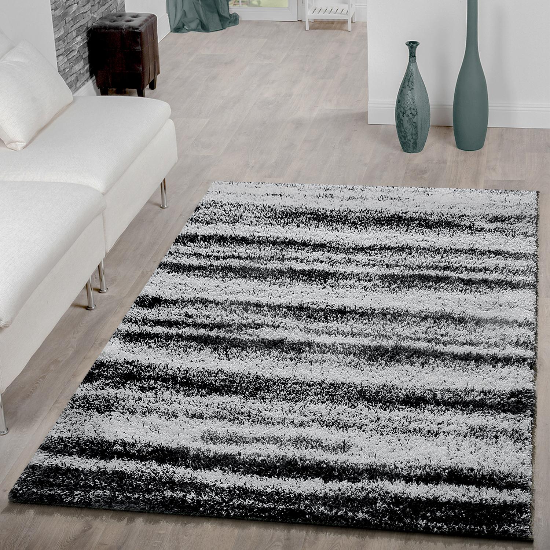 Shaggy Hochflor Teppich Super Weich Meliert in Grau Anthrazit Creme AUSVERKAUF