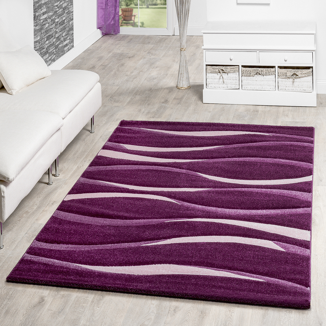 designer teppich toledo modern meliert streifen lila t ne. Black Bedroom Furniture Sets. Home Design Ideas