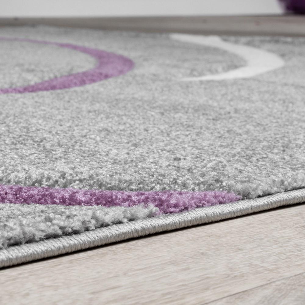 Kurzflor Wohnzimmer Teppich Modern Spiralen Muster Grau Lila Creme ...