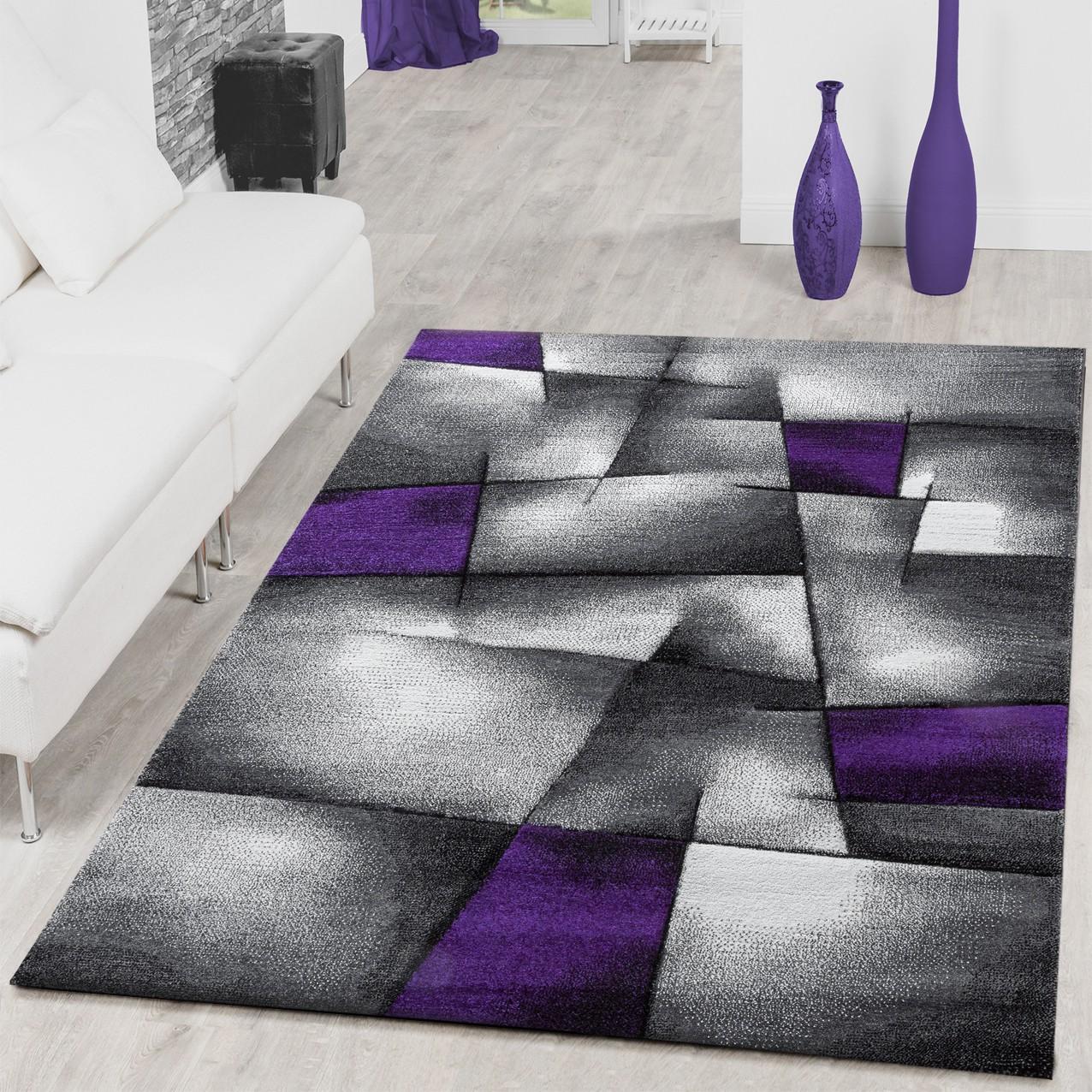Teppich Modern Wohnzimmer Teppiche Karo Lila Grau Konturenschnitt ...