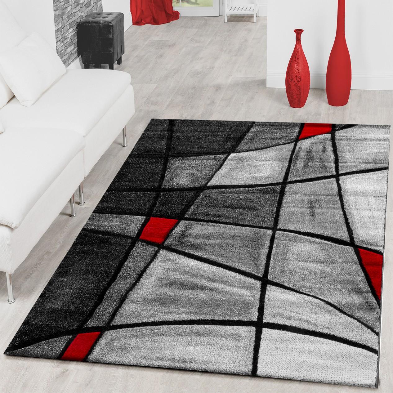 Teppiche Wohnzimmer Teppich Porto Konturenschnitt in Grau Rot ...