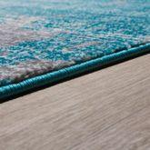 Moderner Wohnzimmer Teppich Hochwertig Muster Abstrakt Meliert In Türkis Grau – Bild 3