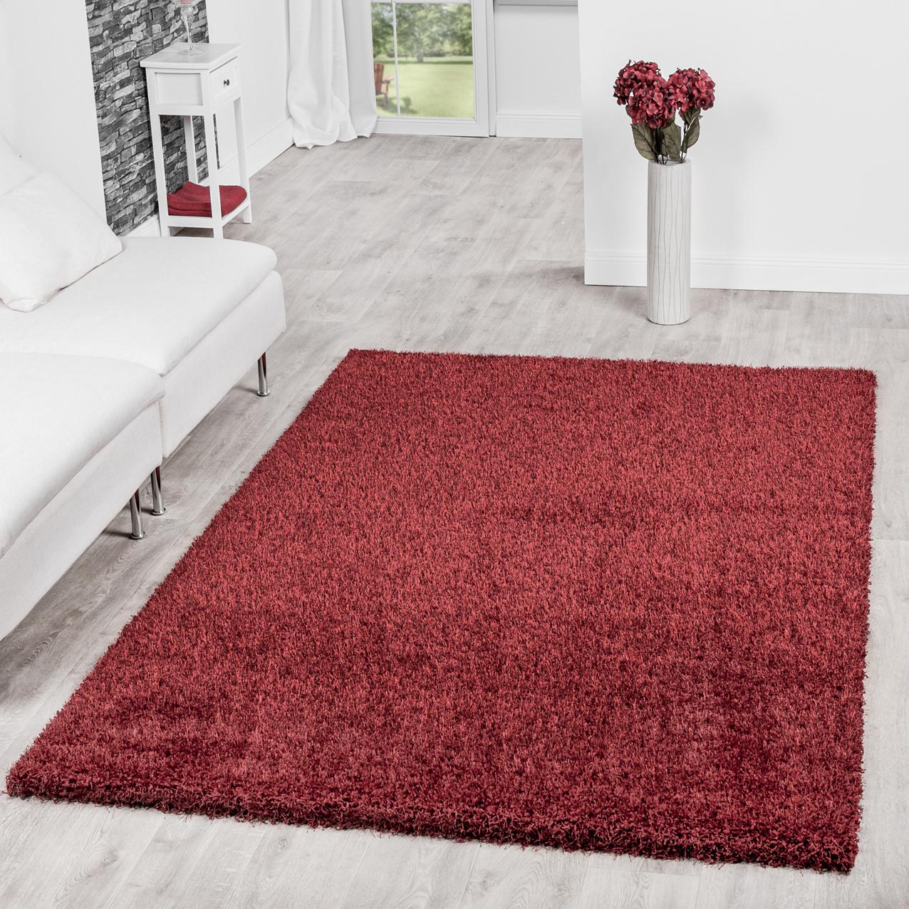 teppich shaggy hochflor teppiche langflor modern weich qualit t in rot hochflor teppich. Black Bedroom Furniture Sets. Home Design Ideas