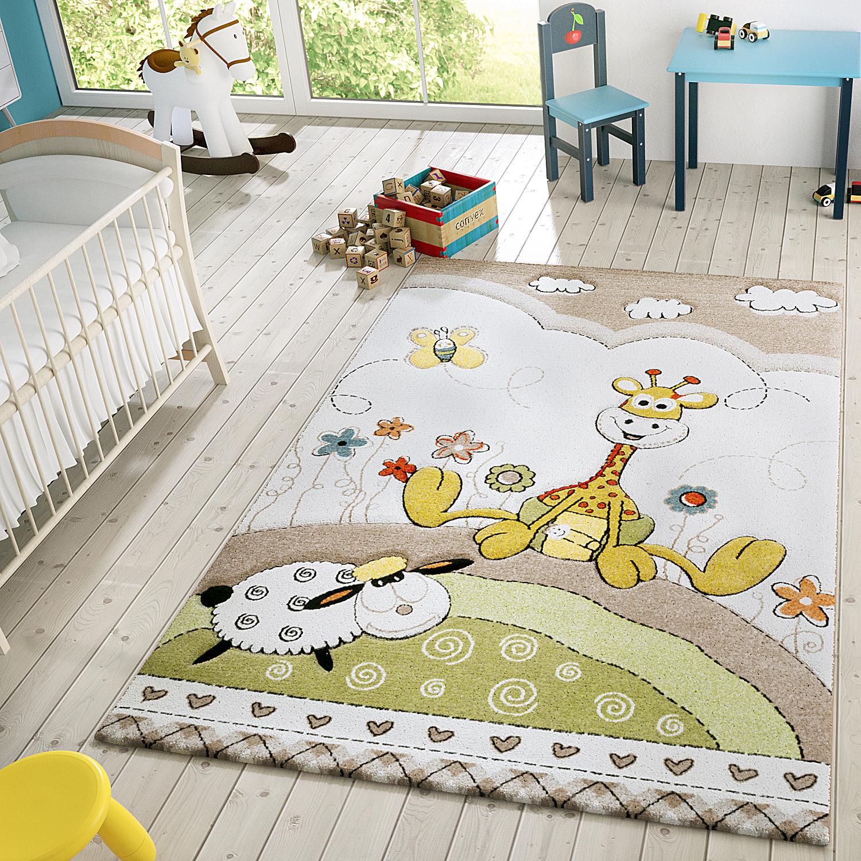 Kinder Teppich Moderner Spielteppich Giraffe Blumen Pastell Töne In Beige Creme