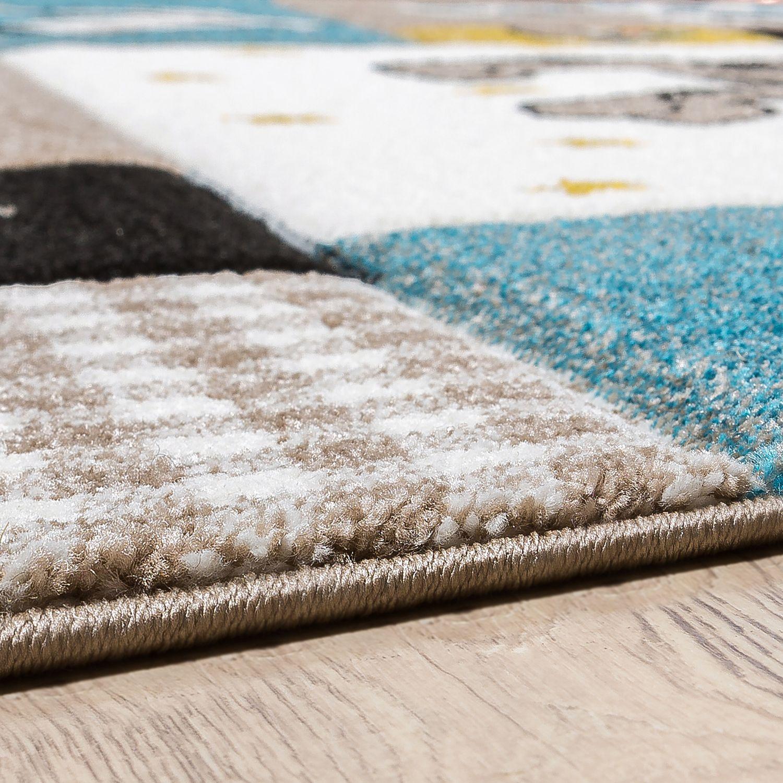 Kinder Teppich Moderner Spielteppich Hunde Karos Pastell Töne In Blau Beige  U2013 Bild 3