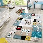 Kinder Teppich Moderner Spielteppich Hunde Karos Pastell Töne In Blau Beige