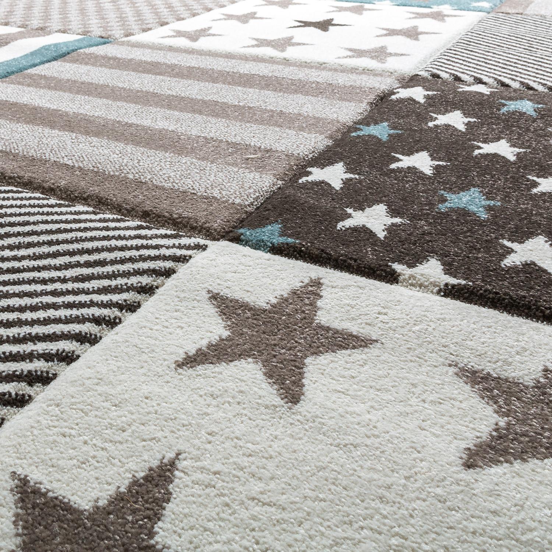 kinder teppich moderner spielteppich kariert sterne pastell t ne in blau creme kinderteppich. Black Bedroom Furniture Sets. Home Design Ideas