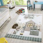 Kinder Teppich Moderner Spielteppich Teddy Welt Pastell Töne In Blau Creme 001