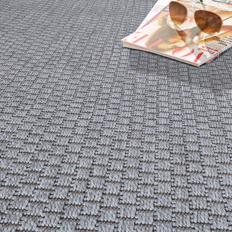 moderner outdoor teppich wetterfest f r innen und au enbereich einfarbig in grau moderne teppiche. Black Bedroom Furniture Sets. Home Design Ideas
