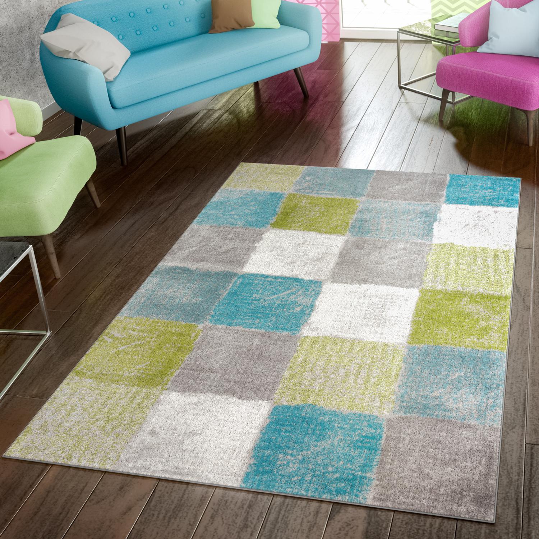 Teppich Modern Preiswert Wohnzimmer Teppiche Kariert Style Grün ...