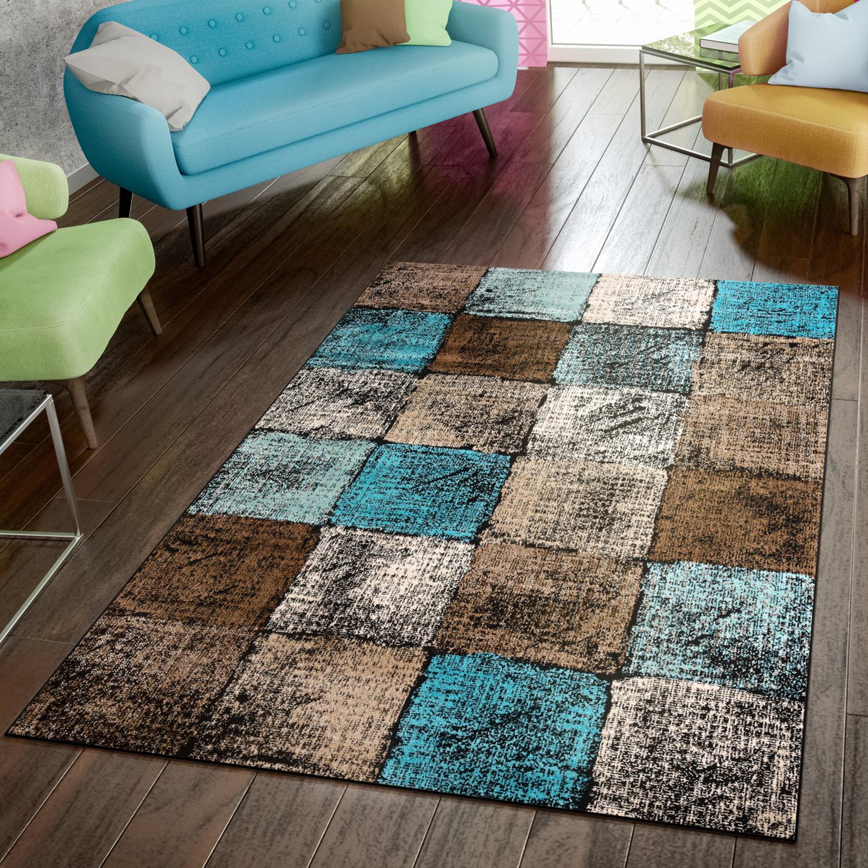 Teppich Modern Preiswert Wohnzimmer Teppiche Kariert Style In Türkis Braun  Creme