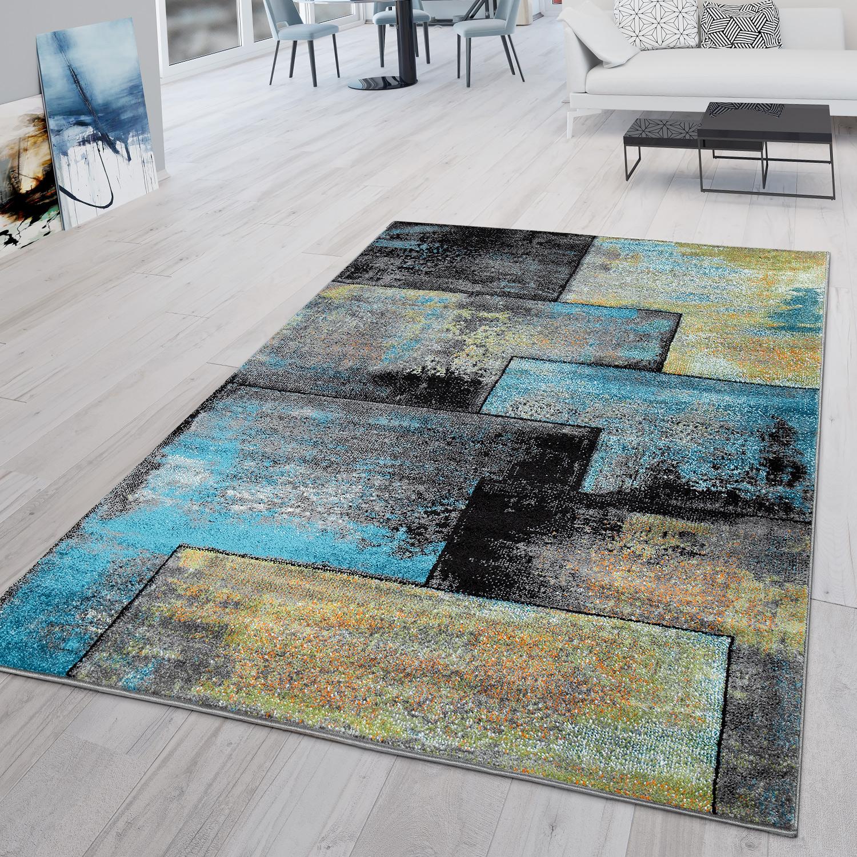Détails sur Tapis Moderne Salon Aspect Industriel Poils Ras Original Noir  Jaune Bleu