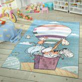Moderner Kinderteppich Spielzimmer Lustige Tiere Himmel Bunt Türkis Pastell – Bild 1
