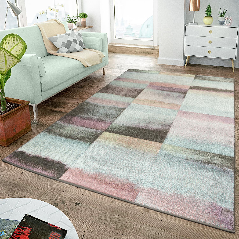 Details zu Moderner Teppich Wohnzimmer Teppiche Karos Pastell Türkis Rosa  Anthrazit Multico