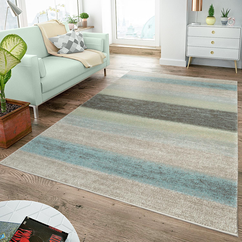 Details Zu Moderner Teppich Wohnzimmer Teppiche Breite Streifen Pastell Turkis Grun Creme