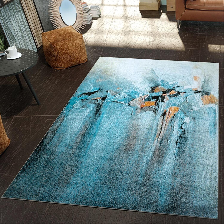 Moderner Teppich Gemälde Blau