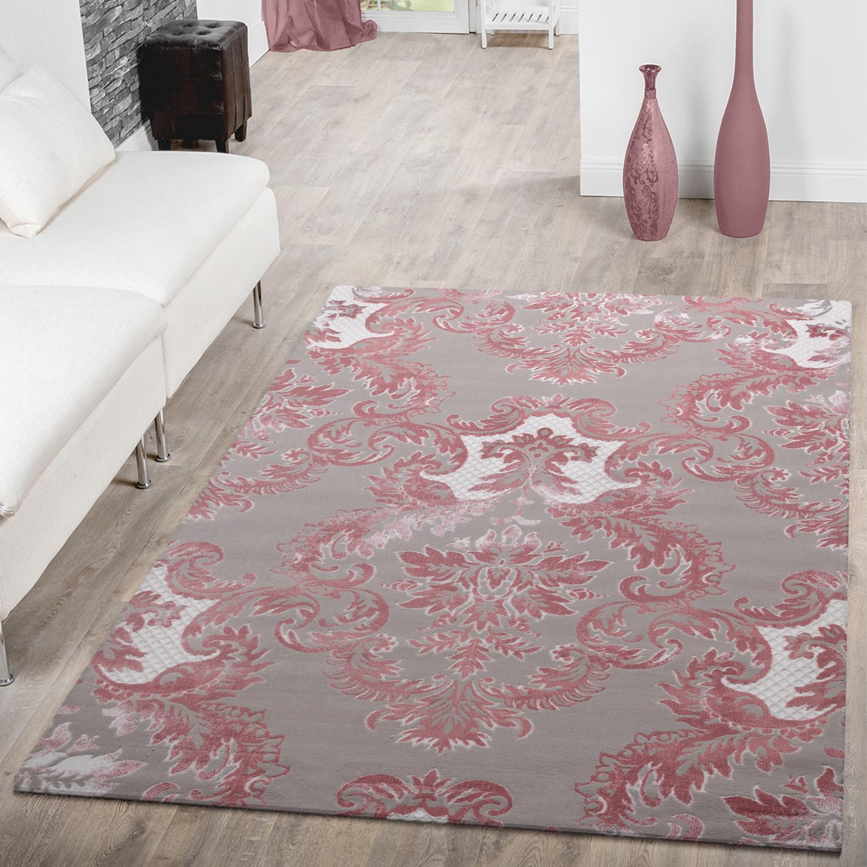 Teppich Modern Glitzergarn 3d Optik Kurzflor Barock Design Pink