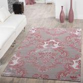 Teppich Modern Glitzergarn 3D Optik Kurzflor Barock Design Pink Grau Weiß – Bild 1