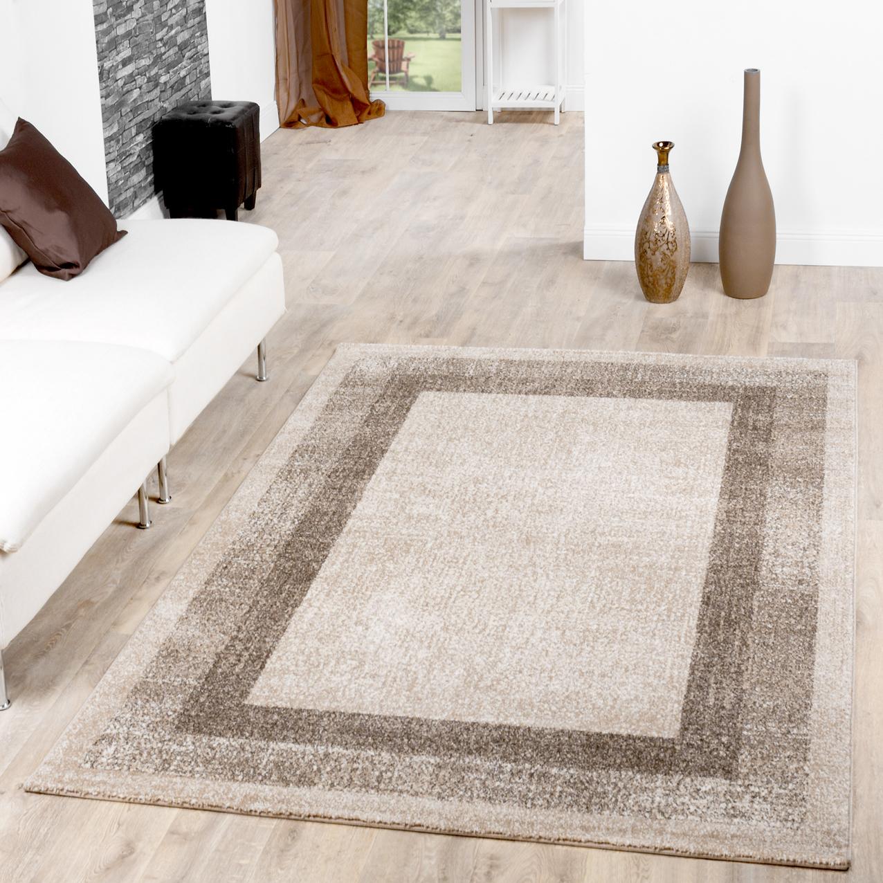 Details zu Moderner Teppich Wohnzimmer Velours Teppiche Bordüre Creme Beige  SALE