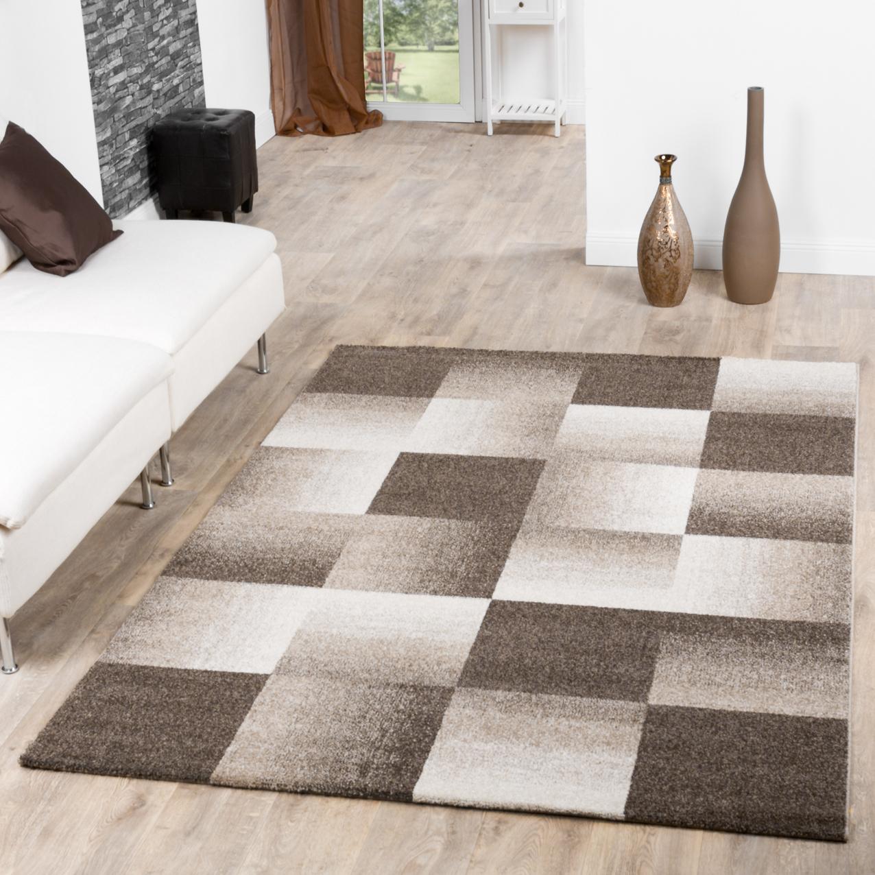 moderner teppich wohnzimmer velours teppiche kariert beige creme braun sale sales. Black Bedroom Furniture Sets. Home Design Ideas