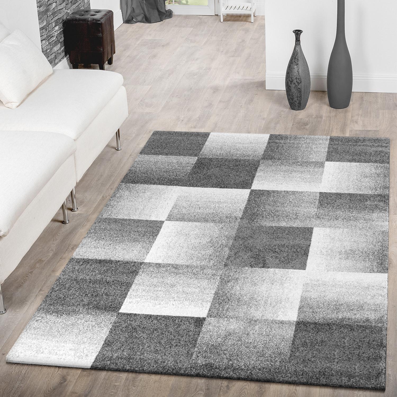 Moderner Teppich Wohnzimmer Velours Teppiche Kariert Meliert Grau