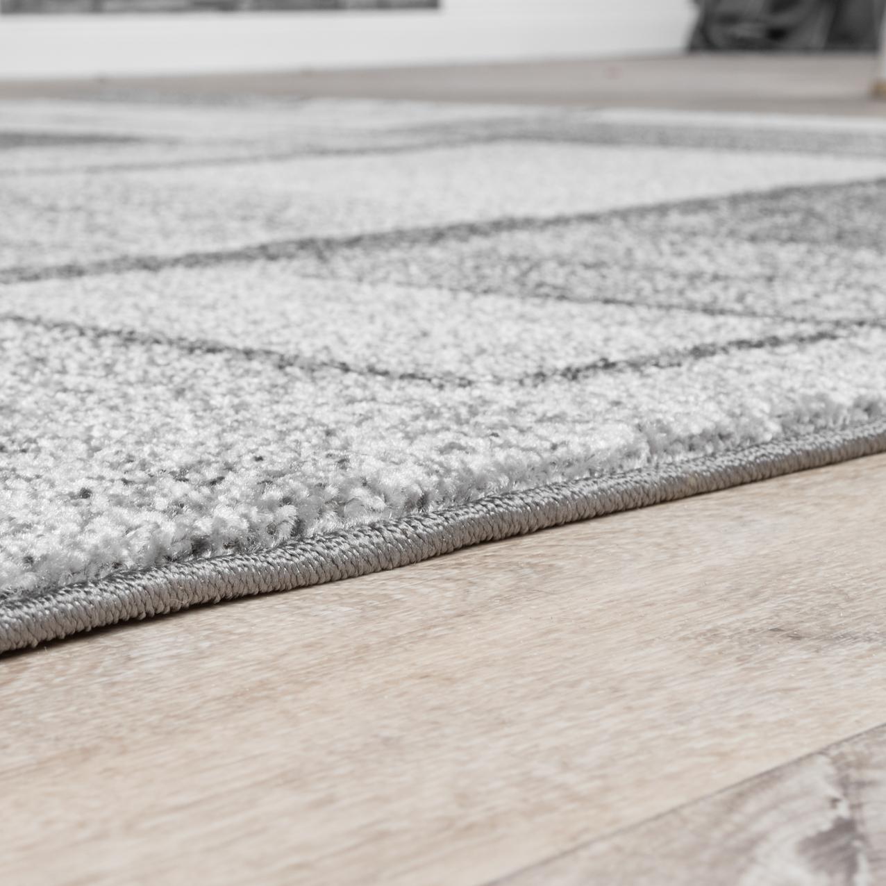 Moderner Teppich Wohnzimmer Velours Teppiche Gekachelt Silber Grau