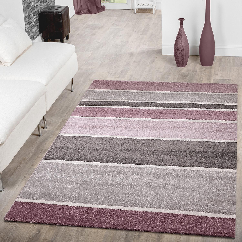 Designer teppich gestreift kurzflor modern lila grau flieder konturenschnitt sale sales - Moderne teppiche bilder ...