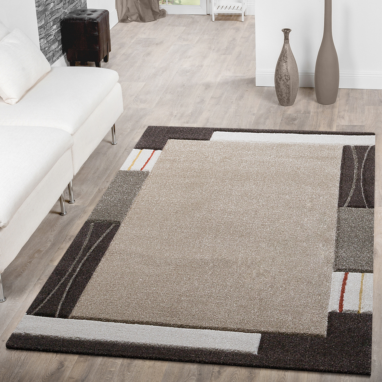 Moderner Teppich Wohnzimmer Bordüre Konturenschnitt Meliert Beige ...