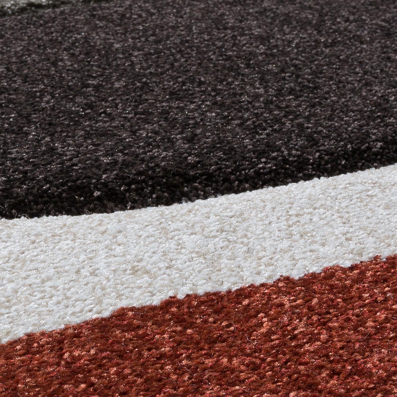 Moderner Teppich Wohnzimmer Streifen Optik Meliert Braun Beige Rot Sale U2013  Bild 2