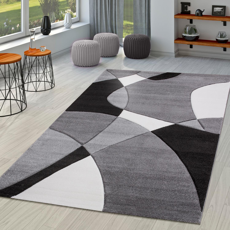 Moderner Teppich Wohnzimmer Abstrakt Konturenschnitt In Schwarz ...