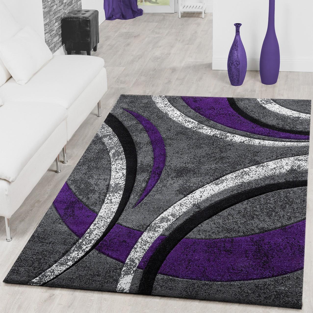teppich wohnzimmer gestreift modern mit konturenschnitt in. Black Bedroom Furniture Sets. Home Design Ideas
