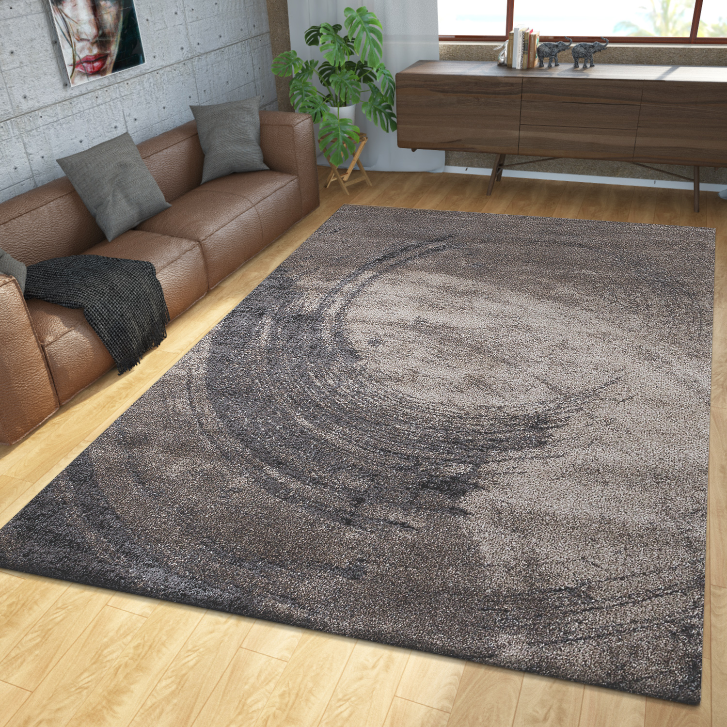 Modern Short Pile Rug With Semicircle Motif 3D Effect In Brown Beige SALE