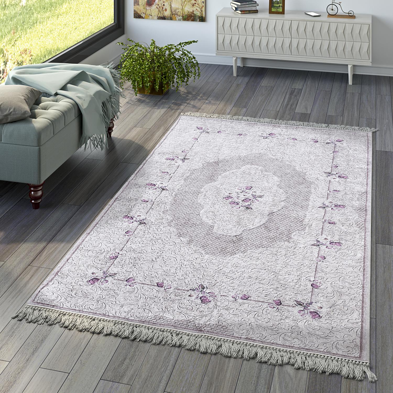 Wohnzimmer Teppich Orient Teppiche Print Design Bordure Floral In