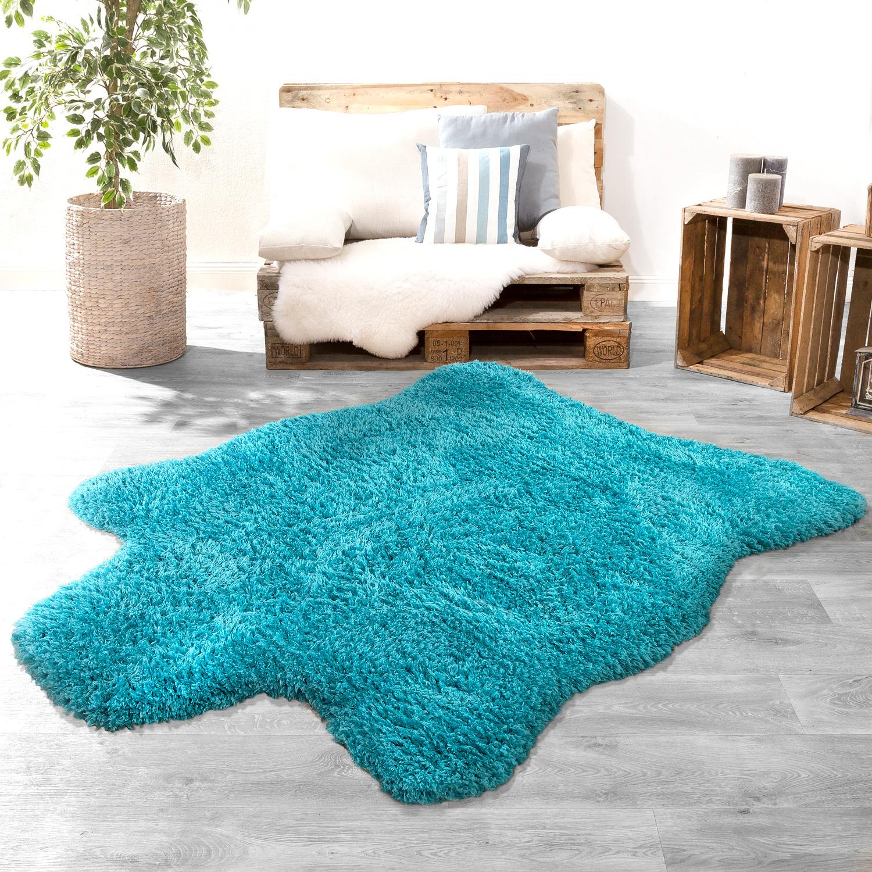 langflor xxl fellteppich modern einfarbig bergr e kuschelig flokati imitat t rkis felle. Black Bedroom Furniture Sets. Home Design Ideas
