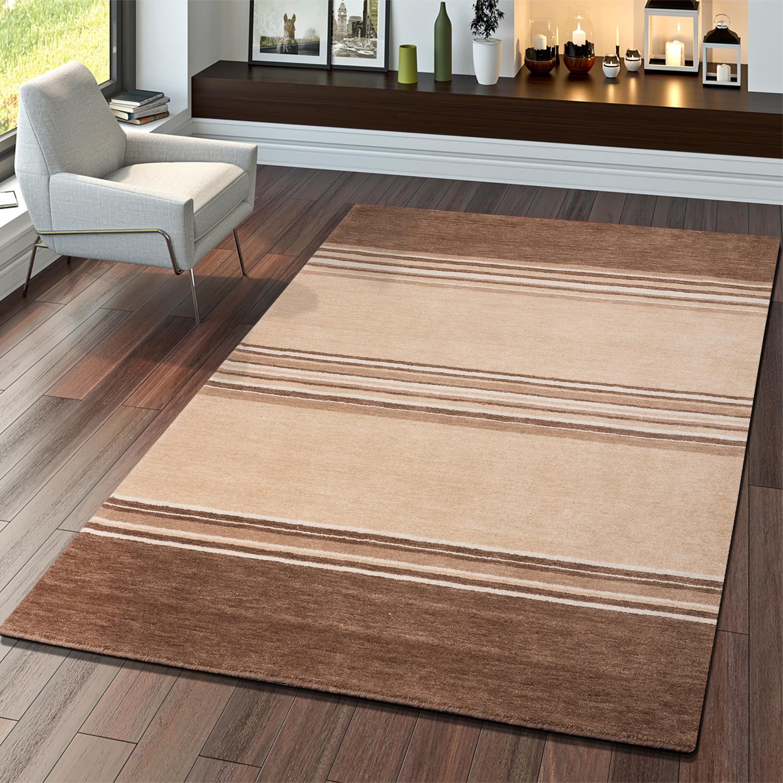 teppich gabbeh handgefertigt qualit t modern wolle meliert in beige braun moderne teppiche. Black Bedroom Furniture Sets. Home Design Ideas