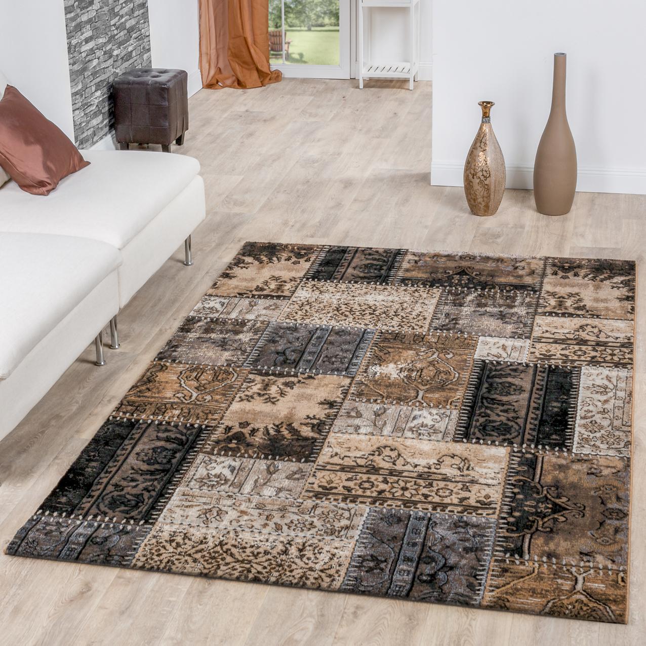 Moderner Teppich Wohnzimmer Patchwork Design Ornamente Meliert In